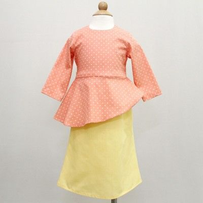Polka Slanted Peplum Baju Kurung- Orange & Yellow
