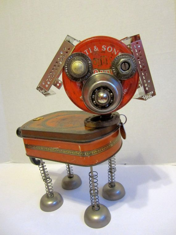 """Romeo"" Dog Bot, a  found object robot by ckudja; Artist Cheri Kudja used a cup, computer fan parts, a vintage Romance chocolate tin..."
