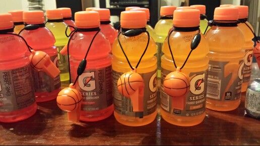 Gatorade with basketball whistles for party favors