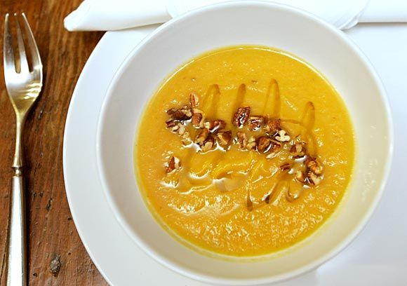 Roasted kabocha squash and celery root soup with maple syrup and brown ...