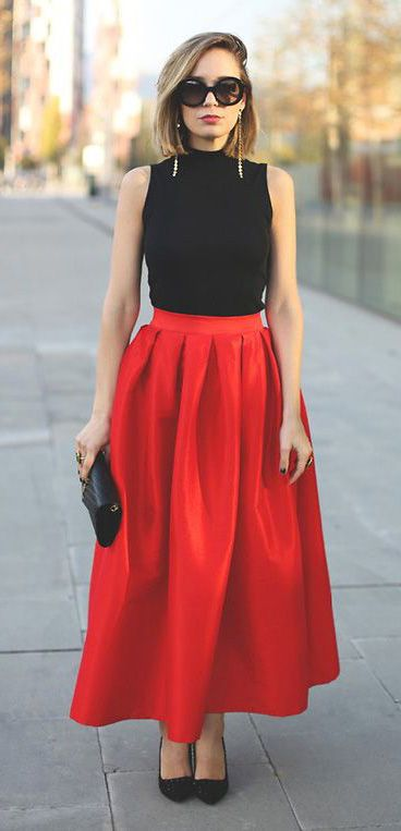 fine red long skirt outfit ideas