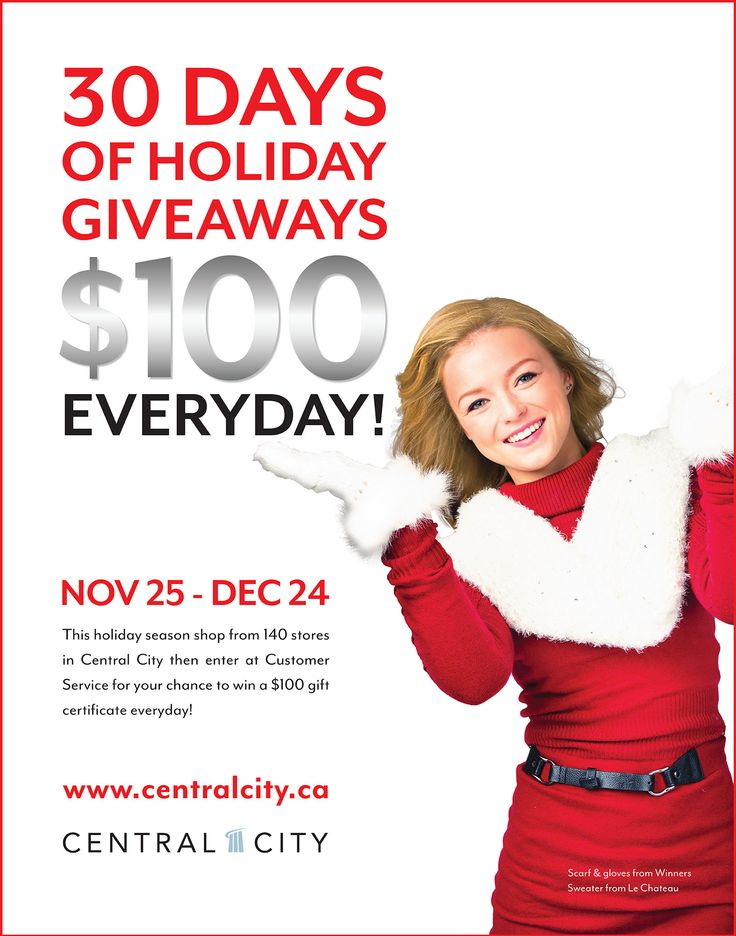 Visit Central City for your chance to a win $100 gift certificate everyday!!!