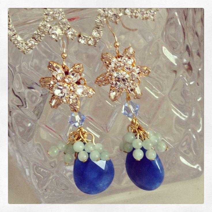 Lapis Lazuli Crystal Flower Earrings, Sonia M Designs
