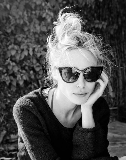 glasses.: Shades, Fashion, Messy Hair, Style, Cateye, Messy Buns, Gillian Zinser, Cat Eye Sunglasses, Tops Knot