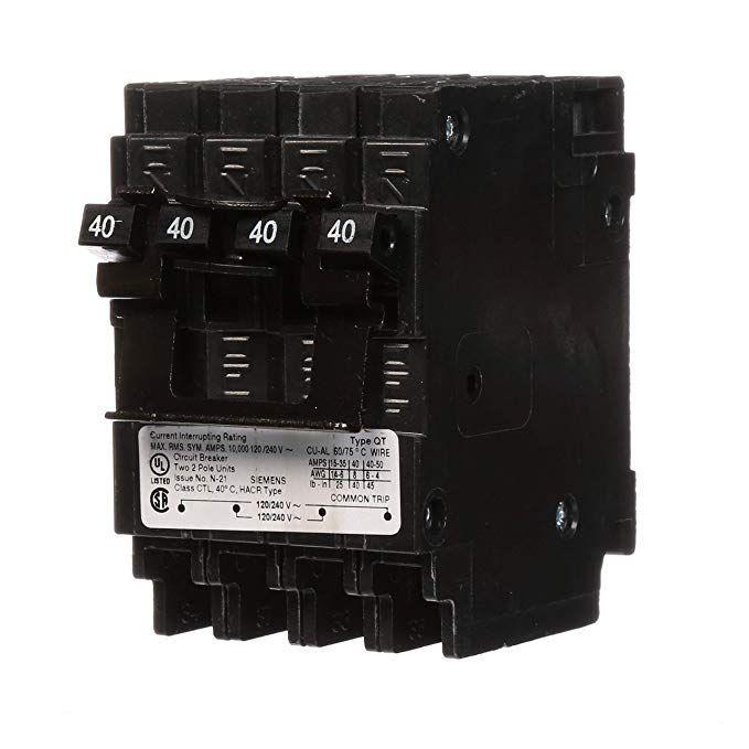 Siemens Q24040ct2 Two 40 Amp Double Pole Circuit Breaker Review Breakers Siemens Circuit