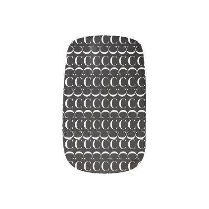 Monogram Initial Pattern Letter C in White Minx Nail Art - monogram gifts unique custom diy personalize