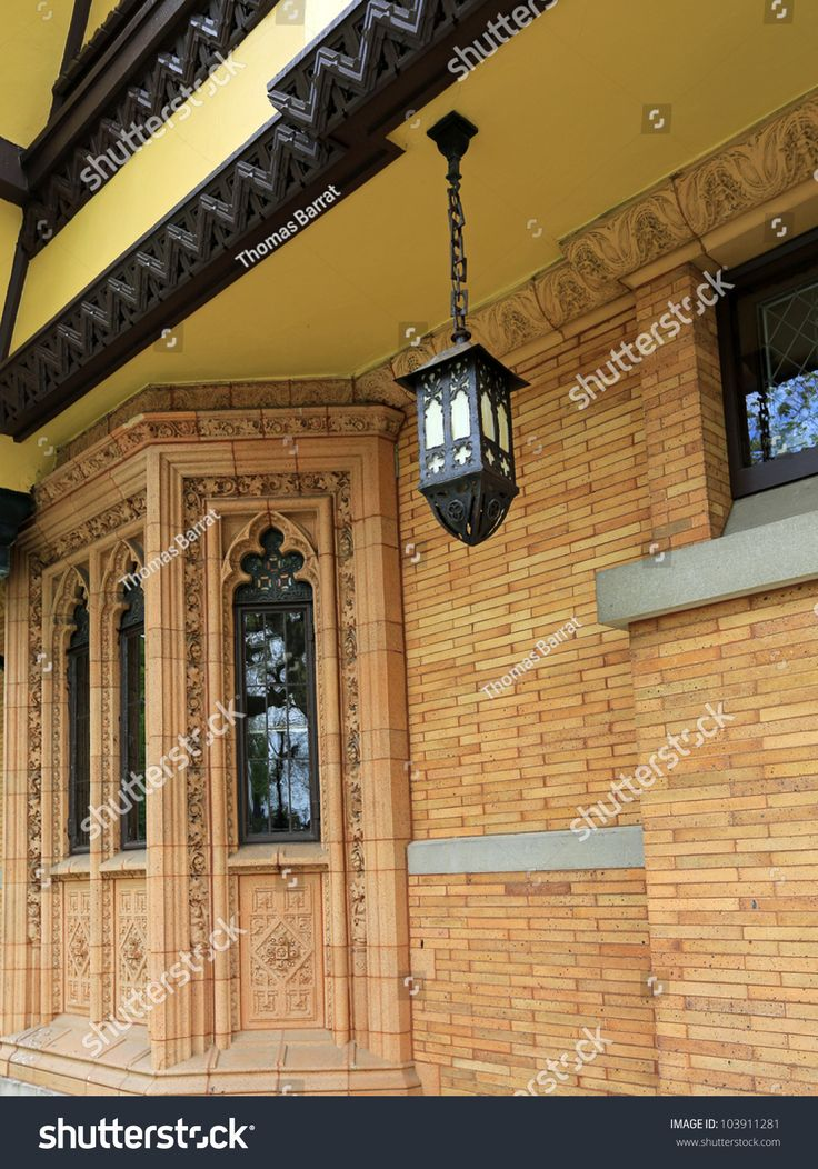 Beautiful bay window and light fixture designed by Frank Lloyd Wright in Oak Park, Illinois, USA