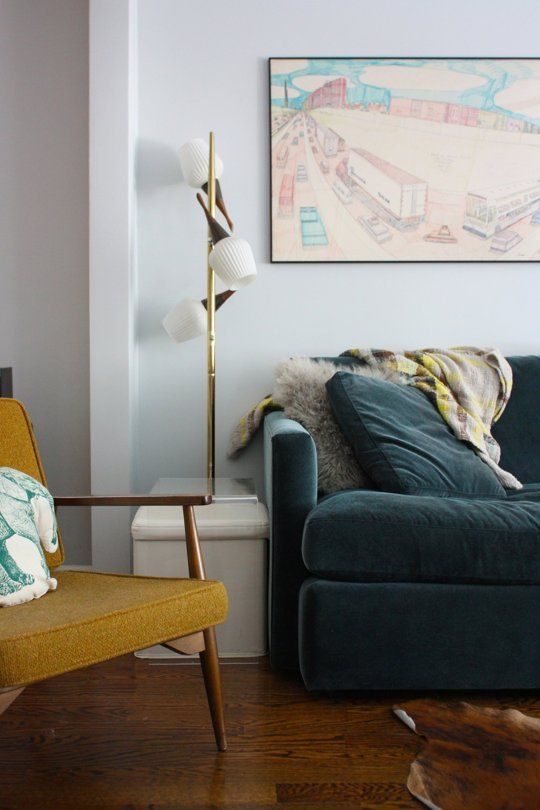 How To Properly Light a Living Room via Apartment Therapy: Proper Lights, Sanford Unflapp, House Tours, Living Rooms, Abod House, Blue Sofas, Unflapp Abod, Apartment Therapy, Yellow Chairs