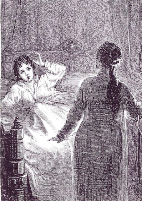 Carmilla was the first Vampire, 26 years older than Bram Stoker's Dracula... Illustration - Laura in bed, illustration by D.H. Friston, 1872