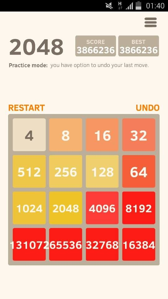 This is a game which is name 2048. The actual goal is reaching to 2048 by sliding the numbers to each other but it was not enough for me just to reach 2048 when I can make my way to 131072 :) This is the real final for this game. I made it !