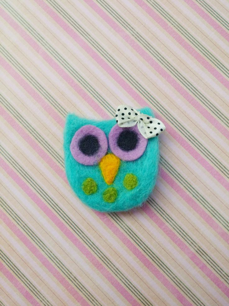 Needle felted owl brooch/pin by HappyFeltingHour on Etsy