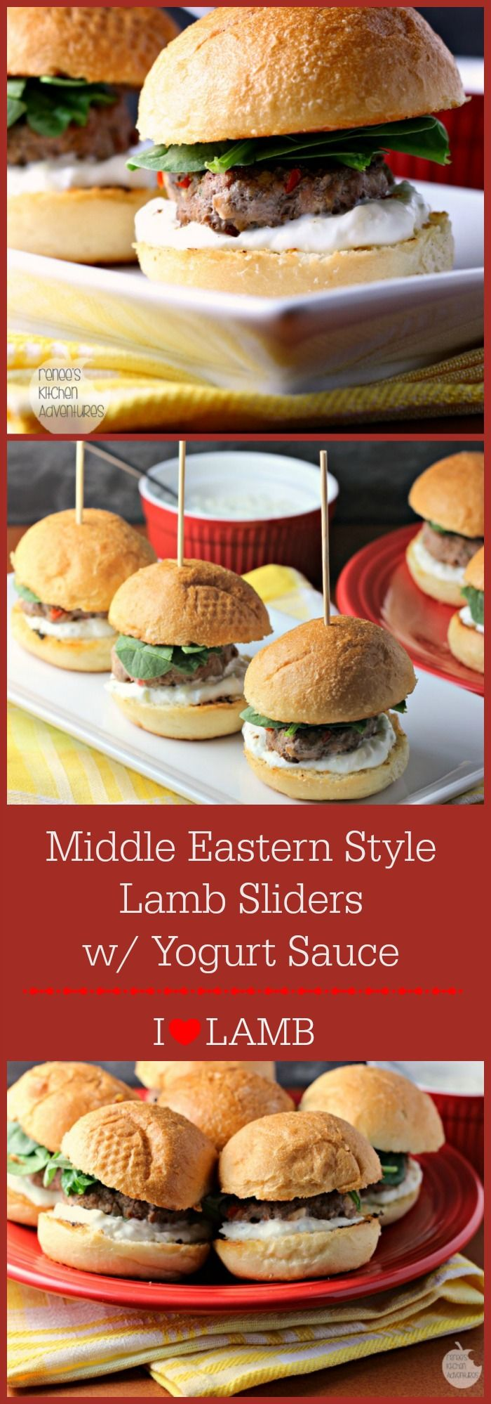 Middle Eastern Style Lamb Sliders with Yogurt Sauce is a flavor twist on a classic fun food!  Featuring American Lamb. #LocalLambGlobalFlavor #CleverGirls
