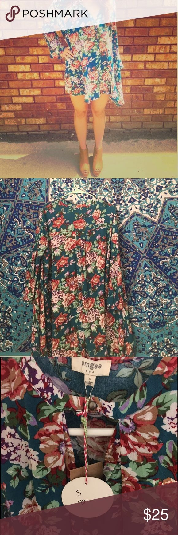 "MUMU look-alike dress NWT. Feminine & Flowy. Pretty floral pattern. I'm 5'5"" and it's the perfect length; wouldn't recommend for anyone too much taller. Would fit sizes small-medium. Purchased from the Reef boutique. Umgee Dresses Mini"