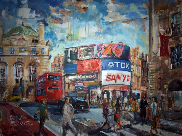 PICCADILLY CIRCUS LONDRES. 100x100cm. EN  TELA. PICCADILLY CIRCUS LONDON.  100x100cm. FABRIC.