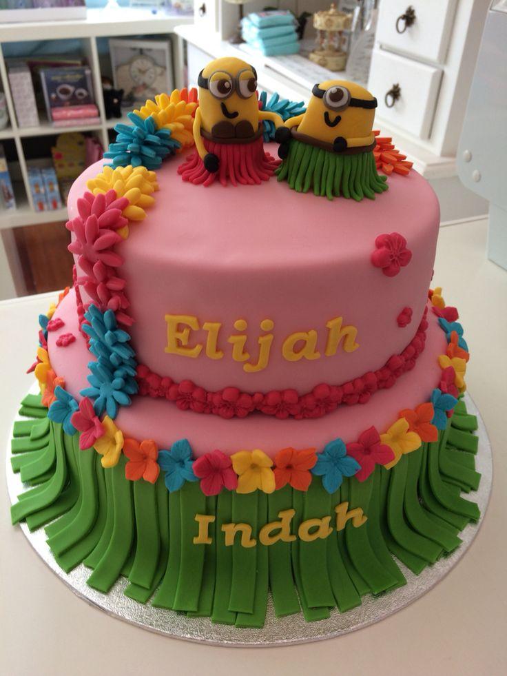 Minioncake Minions taart Hawaï  www.twinkelotje.nl