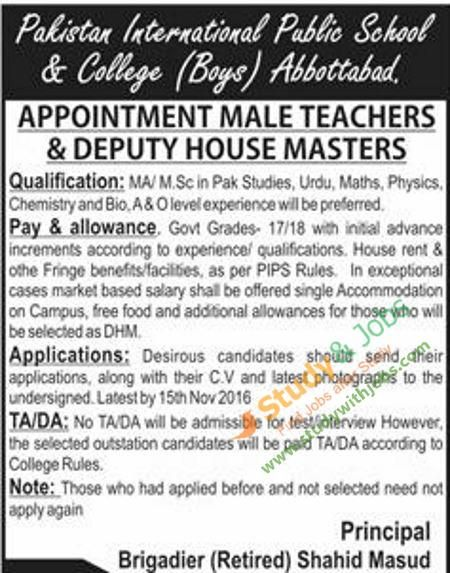 Teaching Jobs in Pakistan International Public School & College Abbottabad