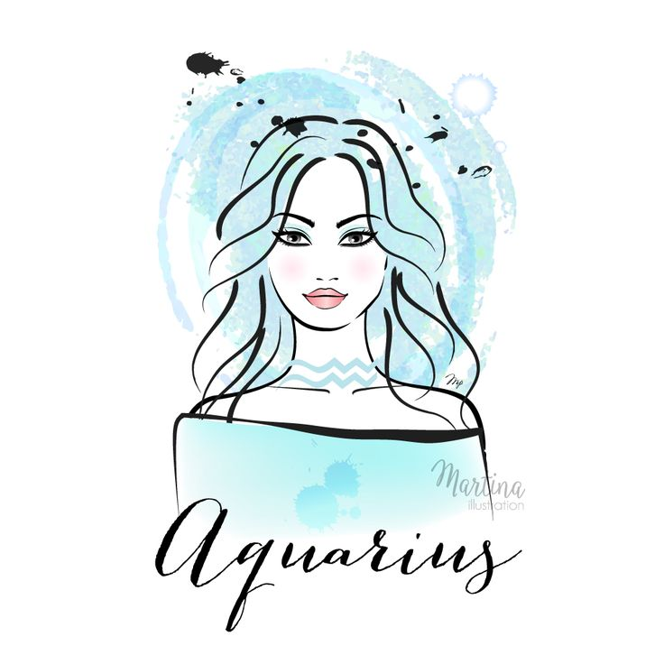 aquarius fashion beauty horoscope zodiac sign illustration