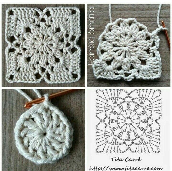 Quadradinho Com Grafico De Croche Fazer Croche Tricô E Crochê Quadrados De Croche