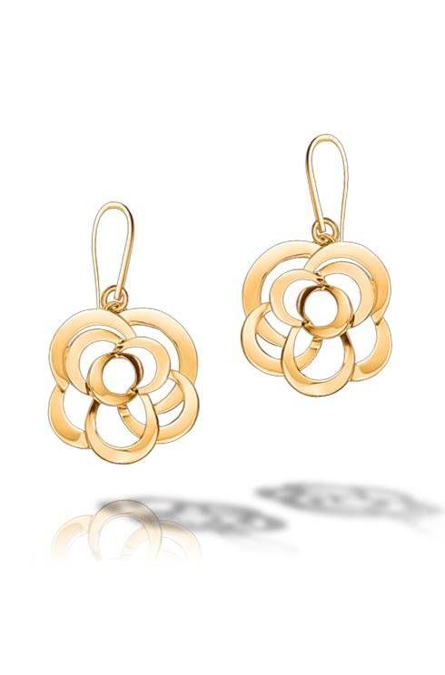 Camélia earrings in 18k yellow gold :: Chanel fine jewellery