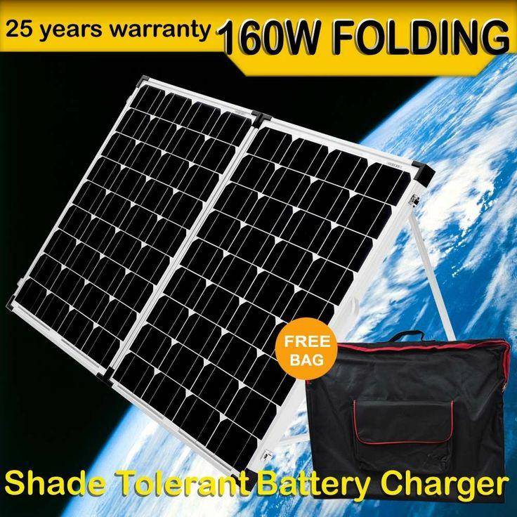 12v 160W Solar Folding Panel Complete Kit Caravan Boat Camping Mono Charging