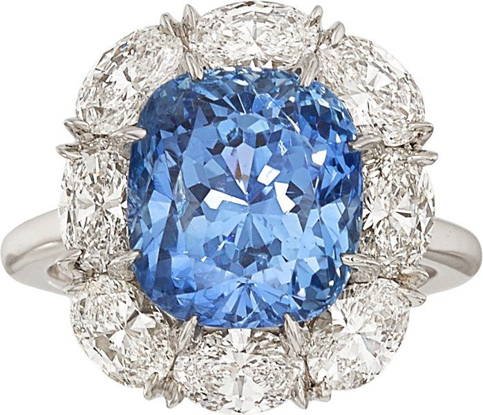Sapphire, Diamond & Platinum Ring by Carvin French