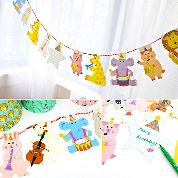 party decorations kids, baby shower decorations, baby shower banner, animal party decorations, birthday party decorations for kids, decor  A perfect addition to your baby shower or birthday party for kids !! This design is one of the most trending and best selling party decorations !! Total 15 pieces of animal and the length of the rope is 2 metres.  Material : Paper  Color: As the picture shows.  Size: 21 cm * 16.5 cm / 8.27 * 6.5  We will ship the order the same day and it will reach a...