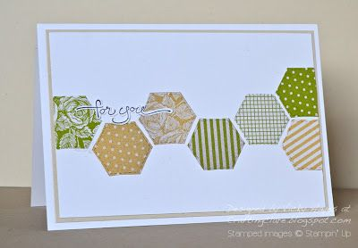 handmade card ... clean and simple ... row of hexagons cut from fabric look papers .... like the faux stitching lines around each one .,.. thin mat layer complements the colors and pulls it all together ... great card!! ...Stampin' Up!