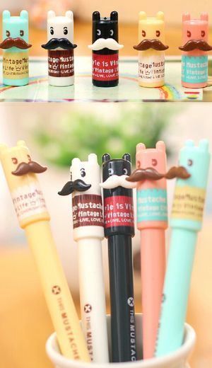 Great fun and also cute moustache gel pen great for adults as well especially those with a tash!   Comes in an assortment of colours   0.5 nib  Ink black water based From cutesykink (Black only avail. May 2016)