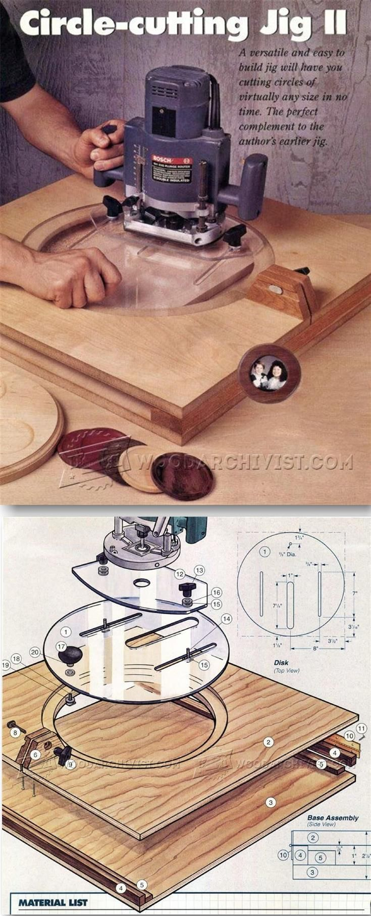 Router Circle Cutting Jig Plans - Router Tips, Jigs and Fixtures | WoodArchivist.com