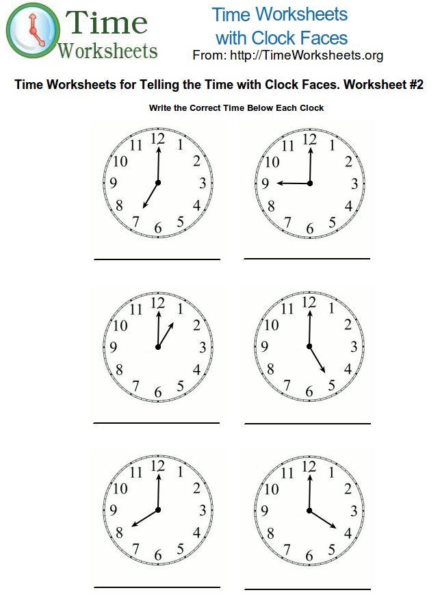 Telling time worksheet 2