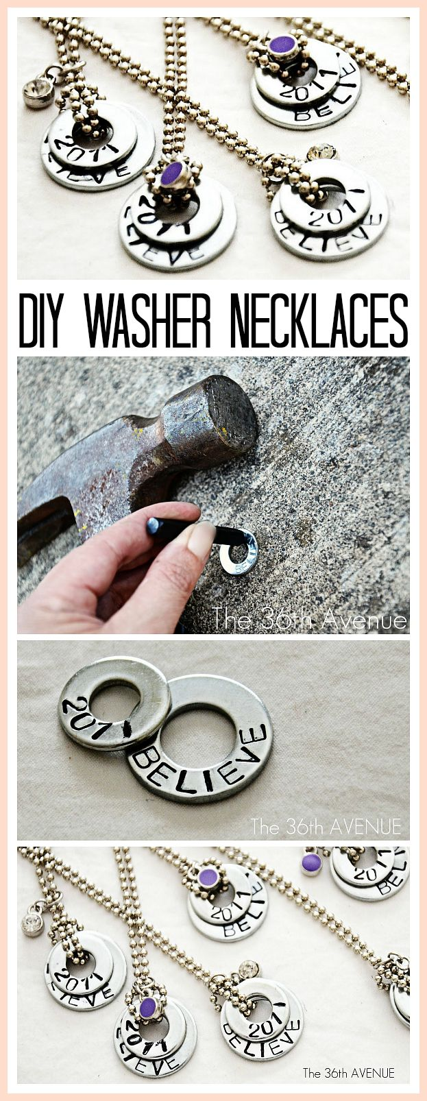 Okay, so did you ever think that you would be making Jewelry with washers???  Lol, well I certainly didn't, however these are some great ideas...key word 'improvise' by using what you have available or just thinking outside the bead store...lol.oh I meant box.!!   25 Handmade Gifts for Under $5… I love these washer necklaces! Awesome Ideas! #gifts #handmade #diy