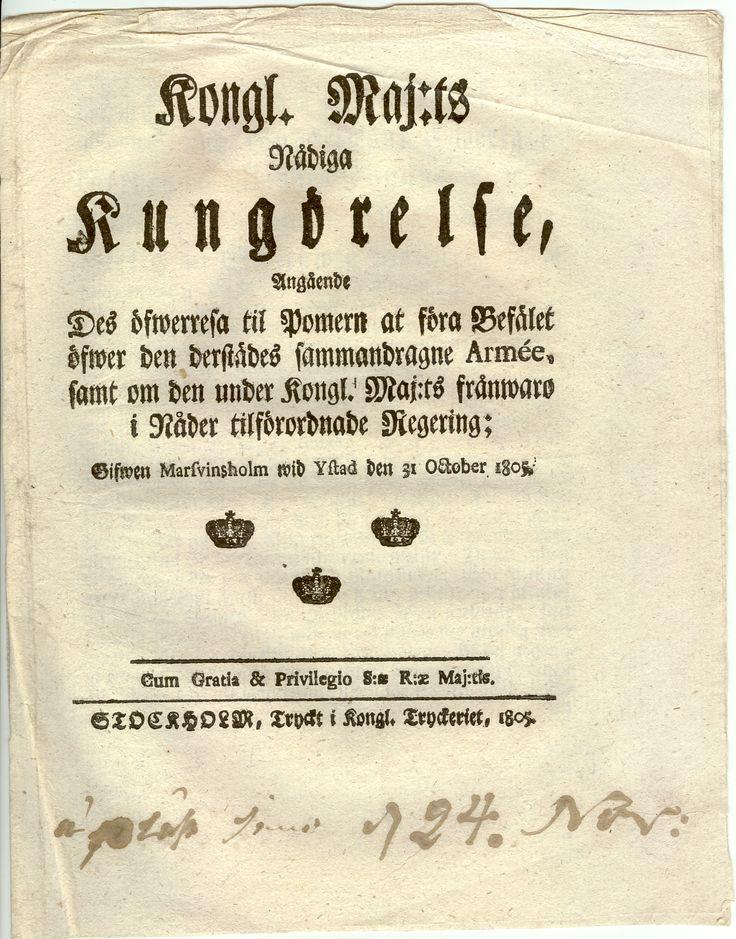Kongl. Maj;ts Nådiga Kungörelse Angående Des öfwerresa til Pomern... Försättsblad