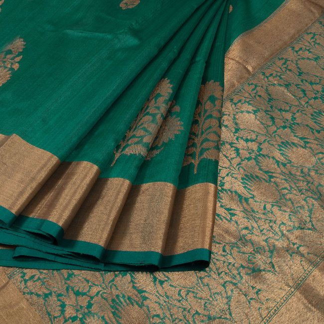 Buy online Handwoven Green Kadhwa Banarasi Tussar Silk Saree With Floral Butis 10014333