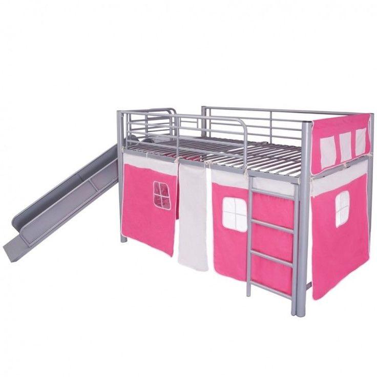 Childrens Loft Bed Steel Grey Slide Ladder Pink Bunk Bedroom Home Furniture Tent #ChildrensLoftBed