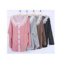 $8.00 Ladylike Doll Collar Polka Dot Batwing Sleeve T-Shirt For Women