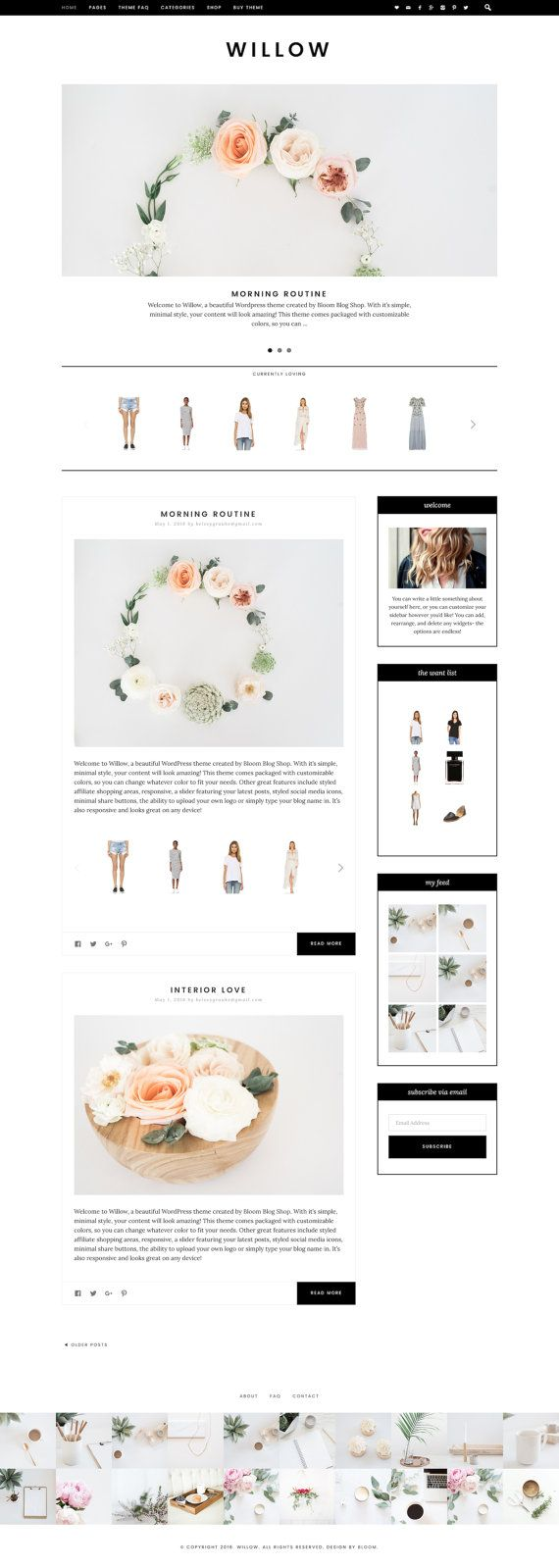 Willow Minimalist WordPress Theme RESPONSIVE Wordpress   Willow features widget areas to showcase your shopping links, a styled slider, custom category pages, integration with shopping affiliate companies, flexible footer area, our customizer option to change any color you'd like, and lots more! #affiliate