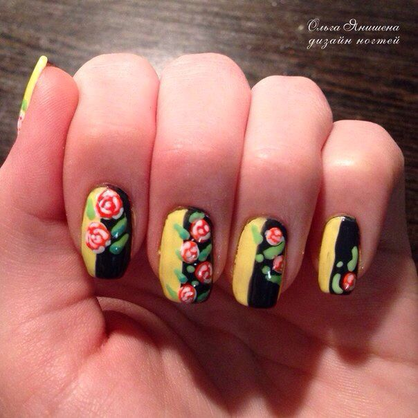Хохлома #nail #nails #ногти #маникюр #рисунок #цветы #цветок #nailart #art #naildesign #design #nailstyle #style #flower #flowers #khokhloma #Russia