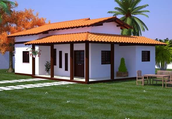 Cod91frente planos de casas peque as pinterest - Modelo de casas de una planta ...