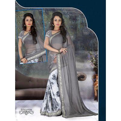 Buy Sareeline Grey And White Crepe Saree by Mor Mukut Fashion, on Paytm, Price: Rs.2001