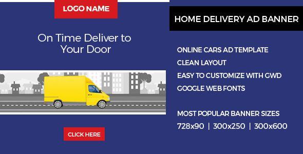 Home Delivery . Home Delivery Ad Banner is designed with Google Web Designer. And provided Three most frequently used sizes in the