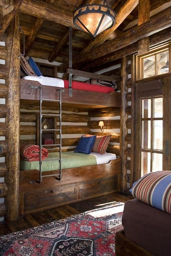 Cabin bunk beds like the ladder built ins pinterest for Log cabin style bunk beds