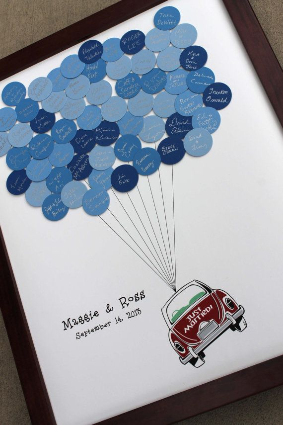 Wedding Guest Book Just Married Car Balloons by SayAnythingDesign, $55.00