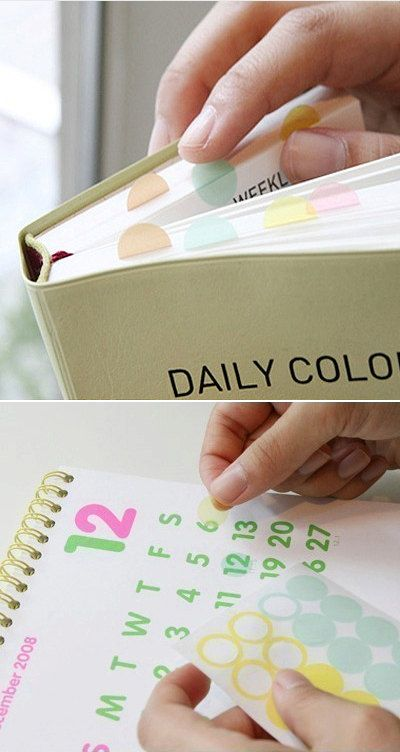 """Transparent Index Dot Stickers - Pink Brown (6 sheets). $3.50, via Etsy. I need to use these on my """"To Do Binder"""": Dots Stickers, Pink Brown, Personalized Goals To"""