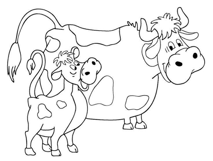 Раскраска - Корова с теленком. Бесплатно скачать раскраску ...
