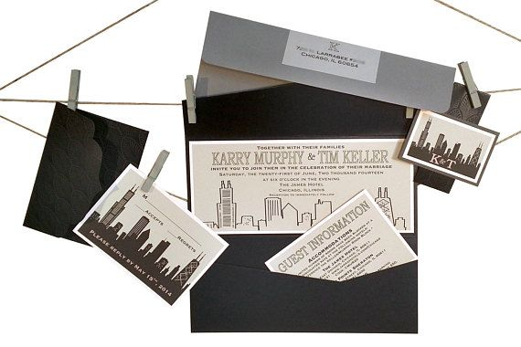 courtlyniverson Chicago Skyline Custom Invitations City