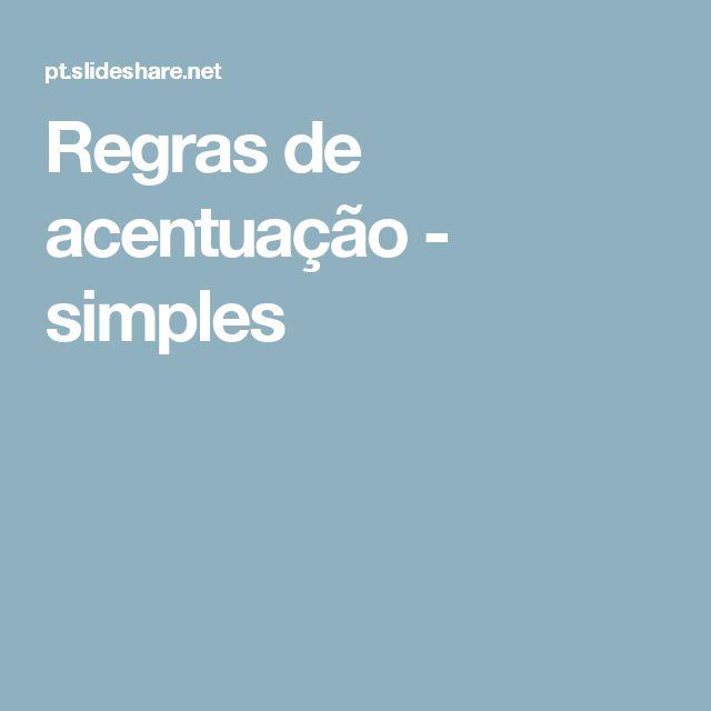 Regras de acentuação - simples