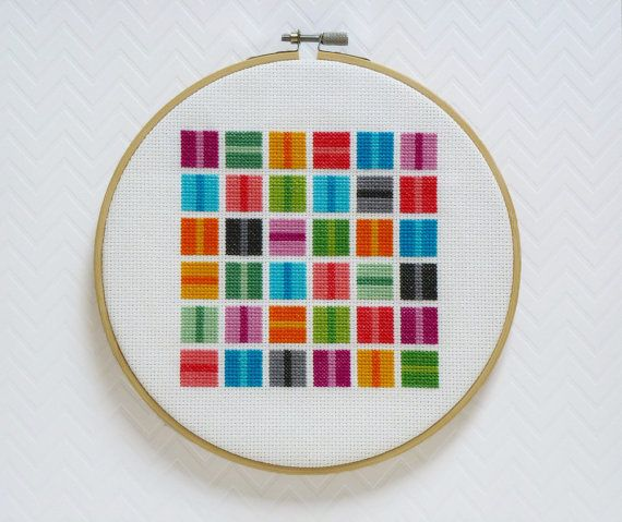Colorful squares modern cross stitch pattern pdf instant