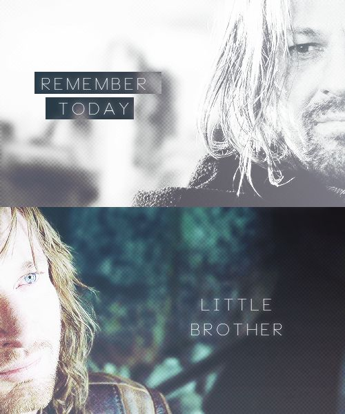 I think it's interesting how this line is so iconic between these two. In almost all the edits I see of them together, I find this quote. Being the elder of two children, I think I can sympathise with Boromir--wanting his little brother to be happy, yet knowing that bad things are to come. Their story is really one of the most tragic, I think.