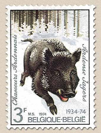 Belgian Stamps 40th Anniversary of hand over of the flags of 'ardeense jagers'Wild Boar