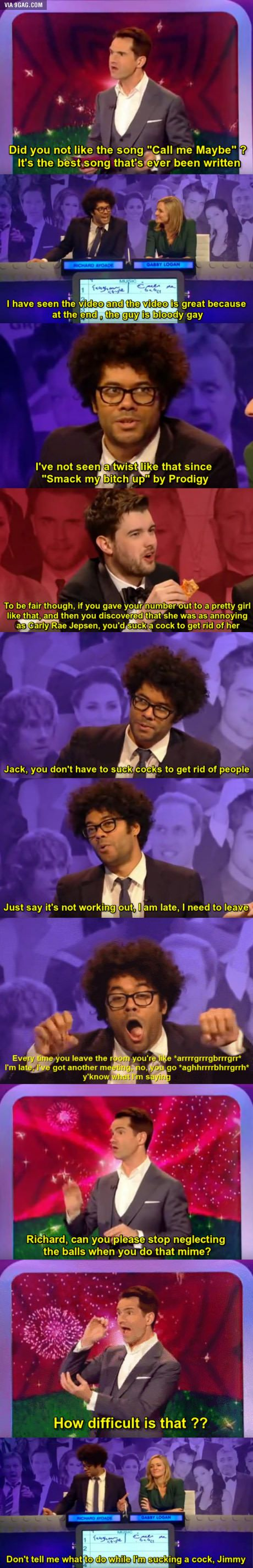 Richard Ayoade giving tips on how to say goodbye | The Big Fat Quiz of the Year